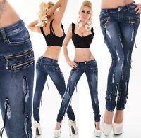 Mujer Cadera Vaqueros Pantalón Pitillo Skinny Hilos Remaches Azul Oscuro Zip