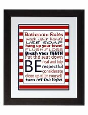 Red Stripes and NavyBathroom Rules Wall Art Print poster, Family Rules