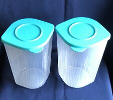 Tupperware Fresh N Cool Large Set of 2 Clear with Turquoise Seals 1.5 L