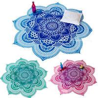Mandala Flowers Beach Throw Meditation Blanket Tapestry Hippie Yoga Mat Towel