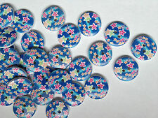 12 ROUND BLUE WOODEN FLOWER DESIGN BUTTONS FOR ARTS, CRAFTS AND SCRAP BOOKING