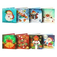 8Pcs/Set Xmas Craft Gifts 5D DIY Diamond Painting Christmas Greeting Card Hand