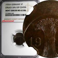 Germany Bronze 1935-A 1 Reichspfennig MINT ERROR NGC MS62 BN KM# 37