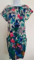 Womens Whistles Multicolour Pure Silk Loose Slouchy Dress With Pockets 8 Vgc.