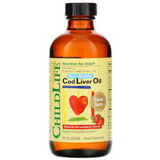ChildLife Cod Liver Oil Natural Strawberry Flavor 8 fl oz 237 ml Alcohol-Free,