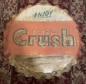 """vintage 1960's orange crush 19"""" bottle cap Stout sign Company original"""