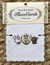 MIP Embossed Pansy Place Cards 10pc Carol's Rose Garden Tea Pots Party