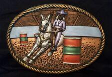Vintage Chalkware plaque wall hanging decor Barrel Racer rodeo girl
