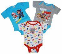 Baby Boys Paw Patrol 3Pack Bodysuits Babygrow Sleepsuit Playsuit Newborn-6Months