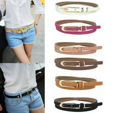 Ladies Women Fashion Skinny Thin Faux Leather Waist Belt Buckle Candy Color Gift