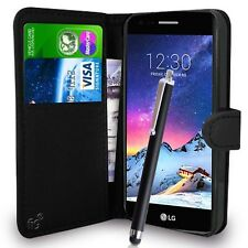 Black Wallet Case PU Leather Book Cover For LG K8 2017 M200N Mobile Phone