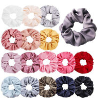 Women Silky Satin Hair Scrunchies Elastic Hair Band Ponytail Hair Tie Rope Gift.