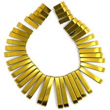 13-30mm hematite graduated stick beads pendant set gold 41 pcs
