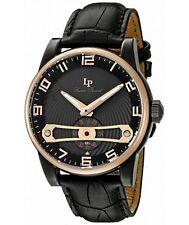 Lucien Piccard 'Bosphorus' Quartz Black Leather Watch (Model: LP-40046-BB-01-RB)