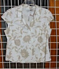 SIZE XL JUST MY SIZE KHAKI FITTED BLOUSE WITH CAP SLEEVES