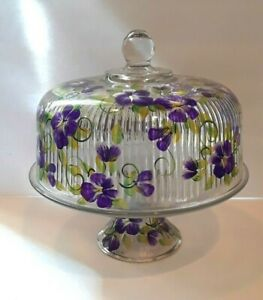 Hand painted glass cake stand