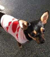 Chihuahua XSmall Christmas Knitted Jumper Pink Red Heart Pet Dog Clothes