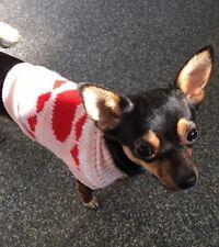 Chihuahua Xsmall Navidad Knitted Jumper Rosa Rojo Corazón Mascota Perro Ropa