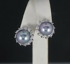 Sterling Silver Round Pearl Marquise Cubic Zirconia Omega Back Huggie Earrings