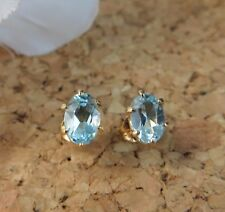 1.50ctw Genuine Blue Topaz Oval Stud 22k Gold over Sterling Silver Earrings #474