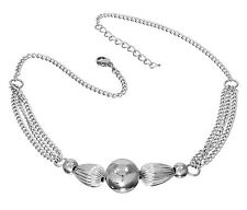"""S.Michael Designs Stainless Steel Round Beads and Fluted 18"""" + 2"""" ext Necklace"""