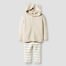 Cat & Jack Baby Organic Sweater Hoodie w/ Ears & Pants, Oatmeal Heather, 0-3 mo