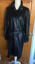 Ladies Long Faux Leather Black Coat by Per Una Size 14