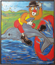 Felix Samuel Pfefferkorn *1945: Clown and Dolphin 1978, 120 x 100 cm WVZ-X-26