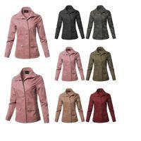 FashionOutfit Women's Casual Long Sleeve High Neck Utility Anorak Jacket