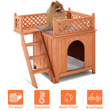 Outdoor Weather Resistant Wooden Puppy Pet Dog House Backyard Home New Cat