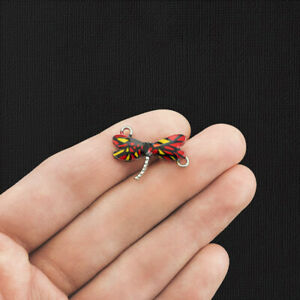 2 Red and Yellow Dragonfly Connector Silver Tone Enamel Charms - E1189