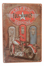 Motorcycle Last Stop Gas Tin Sign Bar Cafe Diner Garage Wall Decor Retro Vintage