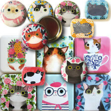 More details for planet cat tin box accessory metal pill storage sweet treat trinket party gift