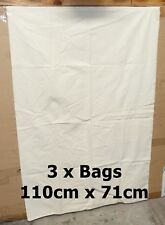 3 x Military XXL Army Surplus Cotton Calico Unbleached Bag Sacks Carry All