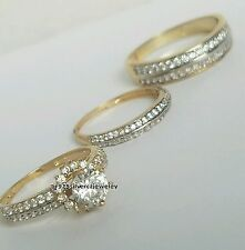 Two-Tone Gold Over 2.25 Ct Round Lab Diamond His Hers Wedding Band Trio Ring Set