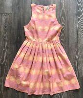 Pink & Yellow Paisley Ethnic Print Skater Dress UK Size 10 Summer Holiday ASOS