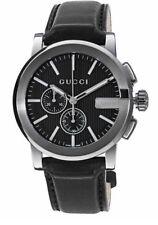 New Gucci G-Chrono Chronograph Black PVD Bezel Leather YA101205 44m Mens Watch