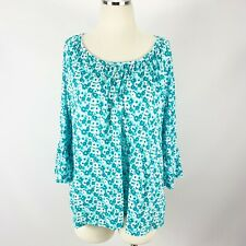 MICHAEL Kors XL Floral Blouse Bell Sleeves Green Blue White