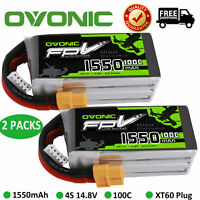 2X Ovonic 100C 1550mAh 14.8V 4S Lipo Battery with XT60 Plug For FPV Quad Drone