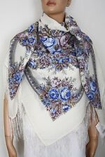 Pavlovo Posad Shawl 100% wool with silk fringe 146x146cm(57x57inhes) 1432-2