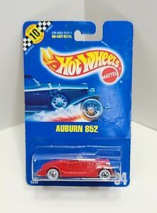 Auburn 852 Red Chrome Basic Whitewall Blue Card 94 1990 Hot Wheels 464