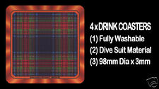 4  x  SCOTTISH TARTAN - CLAN - STEWART BLACK - DRINK COASTERS - Re-usable