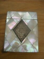 ANTIQUE MOTHER-OF-PEARL AND SILVER CALLING CARD CASE , VERY GOOD CONDITION .