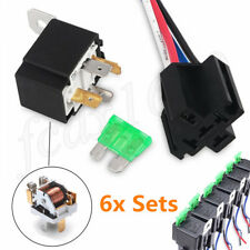 6 Kit Car Relay Switch Harness Set 12V 4 Pin SPST 30AMP Fuse Holder 14AWG Wire