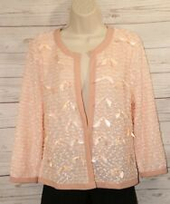 NWT Anthropologie A'reve Sz L Peach Cardigan Light Dress Jacket Top Bow Accents