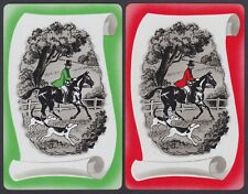 2 Single VINTAGE Swap/Playing Cards HUNT HORSES DOGS MAN RIDING ID HUNT HH-8-11