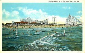 ROLLER COASTER, AMUSEMENT PARK, PONTCHARTRAIN BEACH, NEW ORLEANS LA, POSTCARD