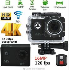 Action Camera Ultra HD 4K 170 Degree Wide Angle Lens + Waterproof 30m 16MP Wifi