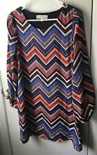 Almost Famous tunic mini dress chevron multi color long sleeve size M lined