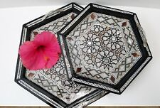 Egyptian handcrafted Blk  Wooden Stacking Serving Trays w/ Mother of Pearl- Med